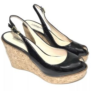 LK Bennett Rosie Shoes Size 39 Black Wedge Sandal